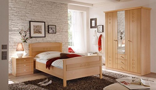 SET Lattenrost verstellbar & Komfortbett Seniorenbett Buche Dekor 100x200 - 3