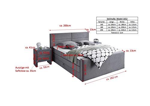 Stellwerk Furniture 1652 Premium Boxspringbett 180x200-cm Bettkasten Stauraum H2-H2 Stoff Grau 7-Zonen Taschenfederkern-Matratze Polsterbett Doppel-Bett - 5
