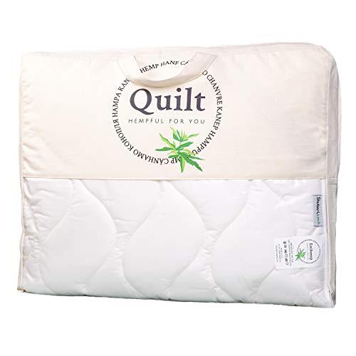 Estihemp Natur Hanf Bettdecke 140x200 cm Leichte Steppdecke Atmungsaktiv Ideale Decke für den Sommer aus Naturfasern, Weiß - 7