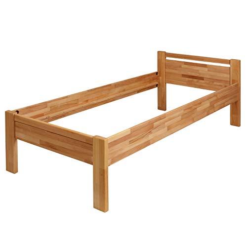 Krokwood Seniorenbett SiSi Massivholzbett in Buche in Komforthöhe FSC 100% Massiv Einzelbett, Natur geölt Buchebett, Billig Holzbett mit Kopfteil, massivholz Bett vom Hersteller (120 x 200 cm) - 2