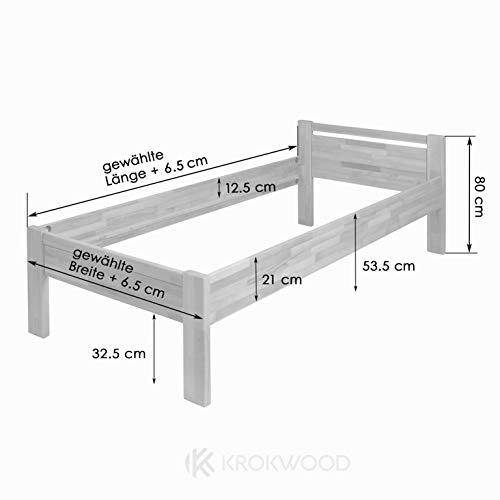 Krokwood Seniorenbett SiSi Massivholzbett in Buche in Komforthöhe FSC 100% Massiv Einzelbett, Natur geölt Buchebett, Billig Holzbett mit Kopfteil, massivholz Bett vom Hersteller (120 x 200 cm) - 3